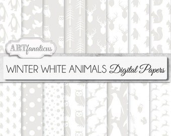 "16 ""WINTER WHITE ANIMALS"" digital papers, Peace Dove,Snowfall, Winter Animal Scenes, animal patterns,owl, deer,squirrel, penguins and more"