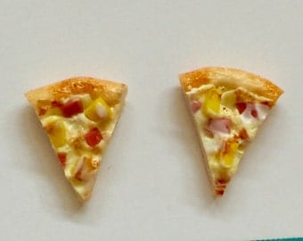 Pizza studs - pizza earrings - Pizza - Hawaiian - Ham, cheese and pineapple - polymer clay stud earrings - Junk food - food jewelry
