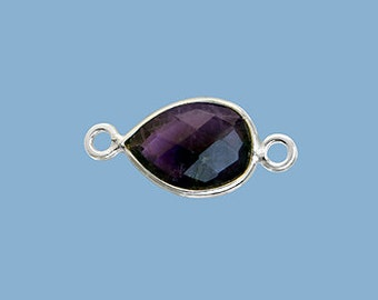 1ea. Small 10x7mm Amethyst and Solid Sterling Silver Pear Bezel Connector Link Birthstone