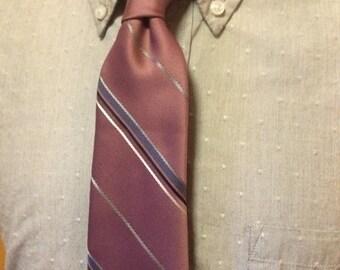 SALE Vintage Christian Dior Dusty Pink Diagonal Stripe Silk/Poly Men's Tie c1970s