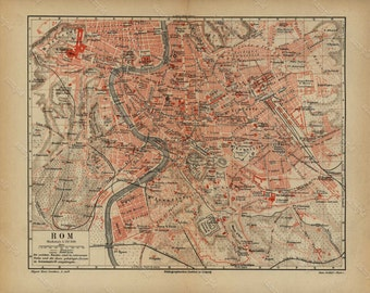 Map of Rome   Antique Original map print  1890 -  Beautiful colored map  Fold Out Map -Map of Rom
