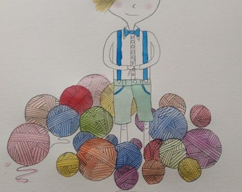 Boys love yarn too - Illustration
