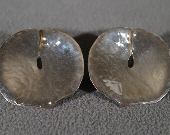Vintage Sterling Silver Extra Large Pounded Design Bold Wide Pierced Earrings      #704
