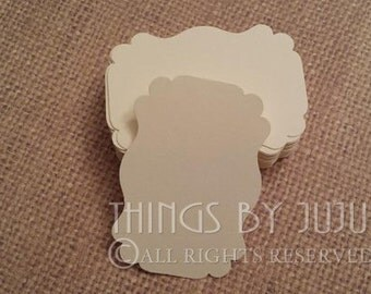50 Ivory Label Tag/Blank Tag/Gift Tag/Bracket Tag/Wedding Tag/Favor Tag/Label Die Cuts Tag