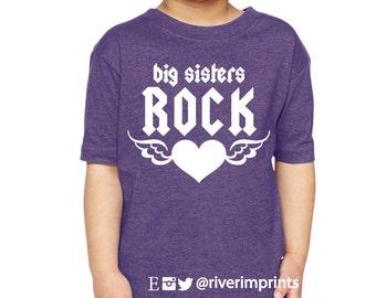 Toddler BIG SISTERS ROCK, girls toddler tee shirt