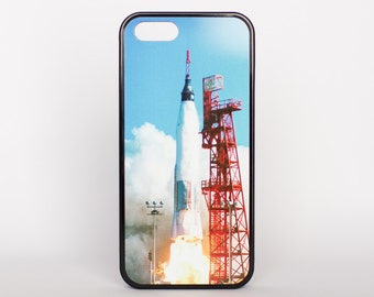 Mercury-Atlas 6 Blast Off by Adventure Case for iPhone 5, 5s, 6, 6 plus, 6s, 6s plus, SE offered as white or black rubber case