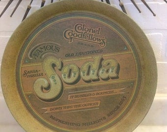 1970s Soda Round Metal Vintage Serving Tray Colonel Goodfellow's Sarsaparilla Old Fashioned