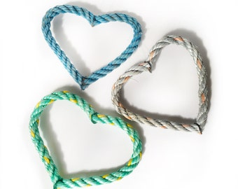 Heart Ornament - recycled lobster rope - ocean colors, single ornament or box set