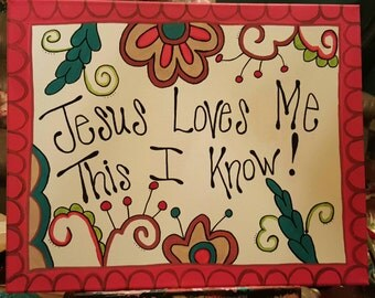 Jesus Loves Me 16x20 canvas