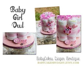 Owl Diaper Cake Centerpiece, Owl Baby Shower Diaper Cake, Owl Baby Shower Gift, Baby Girl Owl Centerpiece