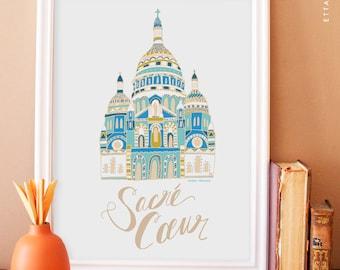 Sacré Cœur Illustration No.3 - beige. sacre coeur art print. french wall art. apartment decor. paris art print. nursery art print.