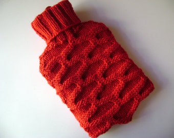 Knitted Hot Water Bottle Cover. Red. Ready to Ship.