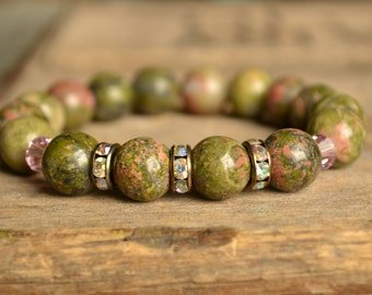 Unakite Gemstone Bracelet, Stackable Bracelet, Stretch Bracelet