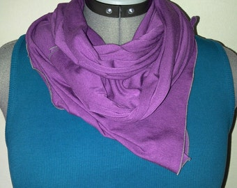 Plum bamboo jersey wrap w/grey edging