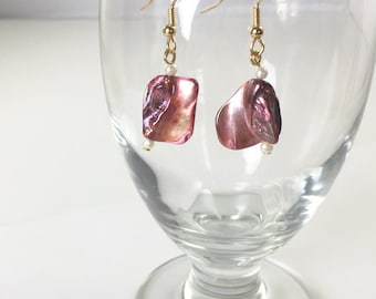 Red Violet Dangle Earrings