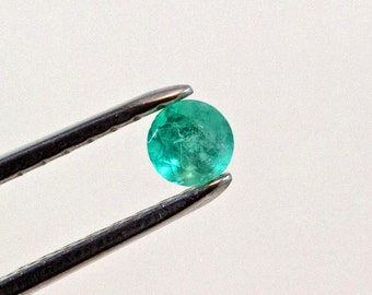 4.70mm Round Cut Natural Colombian Emerald Loose Gemstone