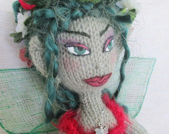 Knitted Fairy Doll. Knitted Pixie Doll. Knit Doll. Hand knitted Doll with knitted clothing, boots and Fairy wings with either Cap or flowers