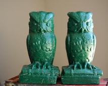 Pair of Heavy Green Owl Garden Statues, Door Stops, Bookends