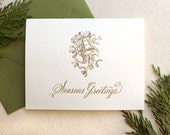 Letterpress Vintage Seasons Greetings Holiday Card - Single Card or Set of 6 - Ready to Ship
