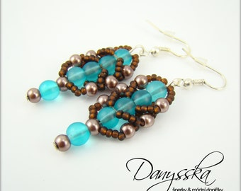 Brown and Turquoise Bead Earrings