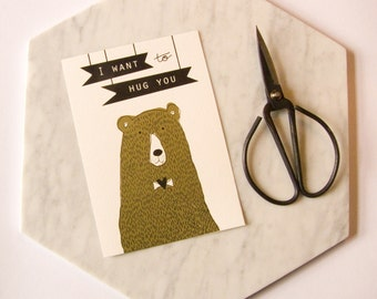 Hand Pulled Screenprint, Bear - 'Goldie locks'