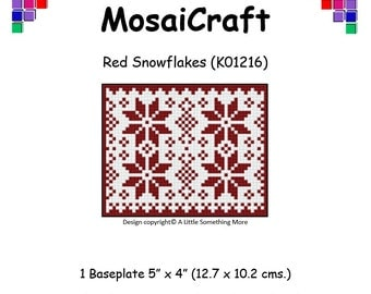 MosaiCraft Pixel Craft Mosaic Art Kit 'Red Snowflakes' (Like Mini Mosaic and Paint by Numbers)