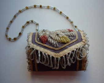 Antique Native American Iroquois Whimsey Beaded Child's Purse Needle Case Souvenir