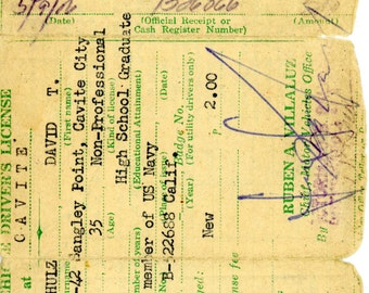 1956 Republic of the Philippines Driver's License Issued to Navy Personnel