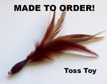 TOSS TOY. Durable Feather Cat Toy, Feather Flier, Feather Teaser. Made to order.