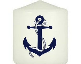 Anchor, Nautical Themed Stamped Candle Decor, pillar candle