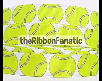 "5 yds 7/8""  Bright Yellow Tennis Balls Grosgrain Ribbon"
