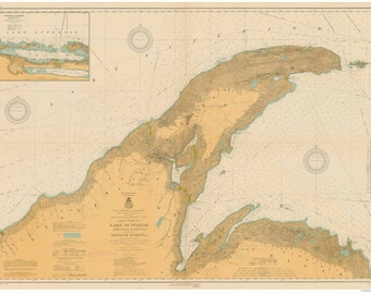 Big Bay Point to Ontonagon, Michigan - 1914 - and the Keweenaw Peninsula - Lake Superior - Nautical Map Reprint  - Harbors 91-98old