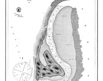 Entrance & Part of Coquille River 1861  Nautical Map, Oregon PC Harbors Reprint 636