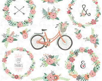 """Wedding Floral clip art """"FLORAL BICYCLES"""" Clipart. Floral Wreath. Wedding .Rustic Flower. 22 images,300 dpi.Png files.Instant Download.Wd149"""