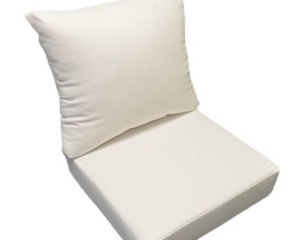 Solid Sunbrella Canvas White Cushion For Indoor / Outdoor Deep Seat  Furniture Chair   Choose Size