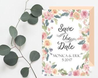 Simple rustic Save the Date printable card. Floral save the date card. Watercolor flowers. DIY - PDF or JPG printable digital file.
