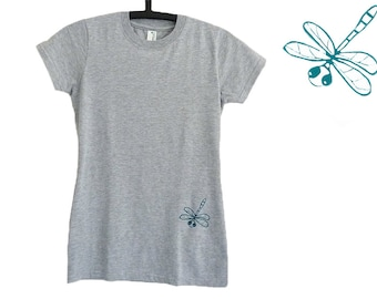 Dragonfly, organic t-shirt, size S, for women, screen printed by hand