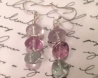 Wire wrapped fluorite stone earrings.