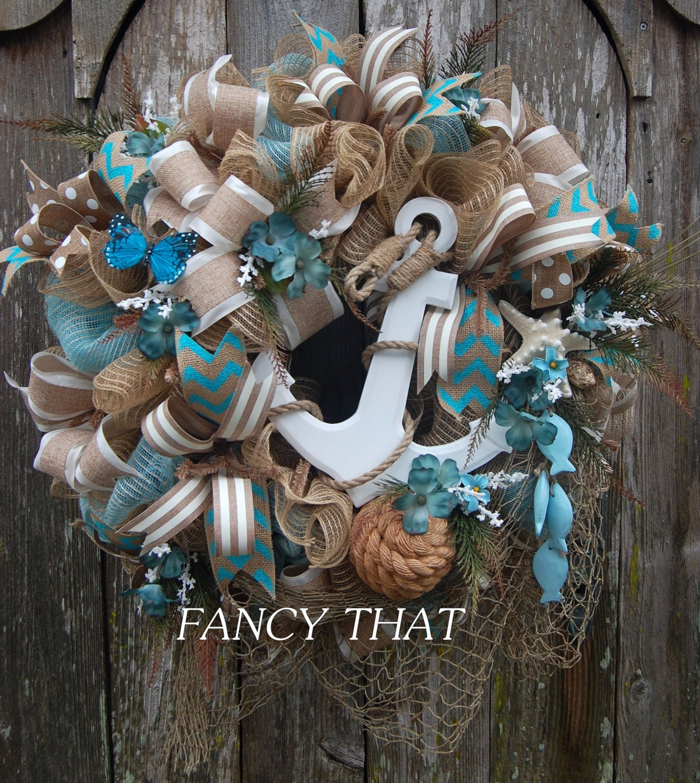 Do It Yourself Home Design: Nautical Deco Mesh Wreath Anchor Wreath Seaside Wreath