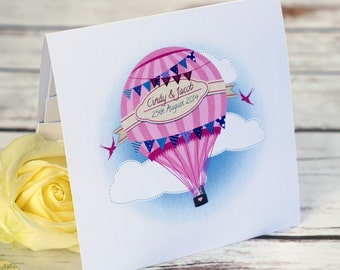 Whimsical Hot Air Balloon Pocketfold Wedding Invitations