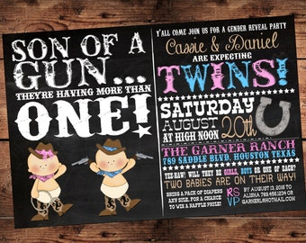 The Original Son of  a Gun Twins Gender Reveal Invitation- Western Twin Baby Shower Invitation - Digital