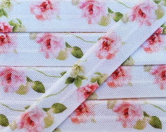 5/8 Pink/Peach Rose Fold Over Elastic