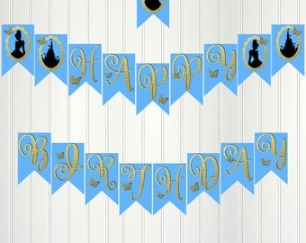 Cinderella Banner, Cinderella Happy Birthday Banner, Cinderella Party, Cinderella Birthday, Cinderella Bunting, Princess Party Banner