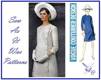 "1960s Uncut Vogue Couturier Design 1821 Jo Mattli Asymmetrical Side Buttoned Mini Dress Collarless Vintage Sewing Pattern Size 14 Bust 34"""