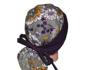 Surgical Scrub Hat Scrub Chef Vet Chemo Cap Front Fold Ponytail Scrub Hat - Grey Yellow Purple Floral - 2nd Item Ships FREE