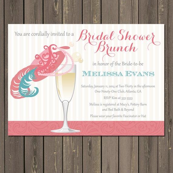 Bridal Shower Brunch Invitation Champagne Brunch Fancy