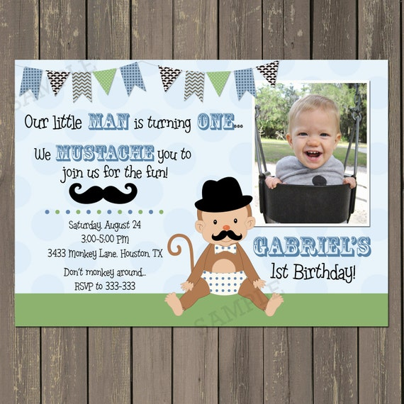 Monkey birthday invitation little man 1st birthday invitation il570xn filmwisefo