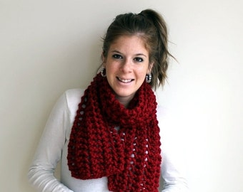 Pre-Fall SALE Knitted Scarf Lace Chunky Cranberry- Severna Scarf