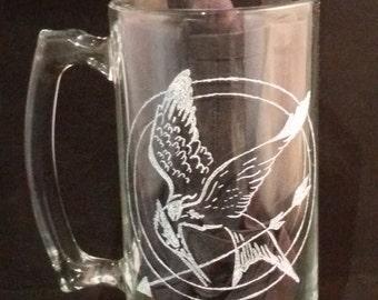 Hand Etched Hunger Games Mockingjay Beer Mug