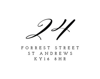 Personalised Number Calligraphy Return Address Stamp